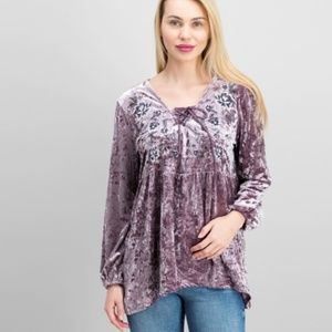 Style & Co. Crushed Velvet Top Whimsy Mauve 1X